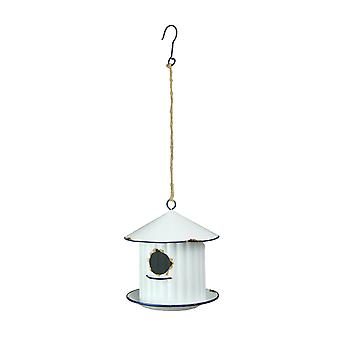 Weathered White Silo Design Hanging Metal Birdhouse With Blue Trim