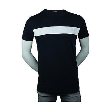 Replay Jeans Replay Mens Chest Logo T Shirt Navy