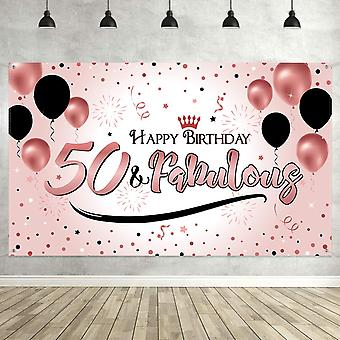 50Th birthday black gold party decoration, extra large fabric black gold sign poster for 50th annive wof19913