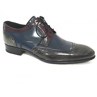 Men's Shoes Harris Francesina Shade Blue Grey and Red Handmade U15ha31