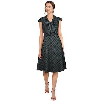 שיק כוכב פלוס גודל רטרו 1940 שמלה אפור / משובץ