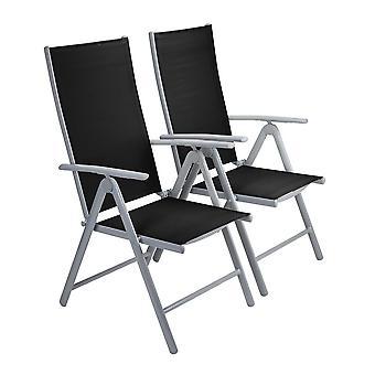 Strong Adjustable Aluminium Folding Garden Dining Chair Seats (2 Pack | Black)