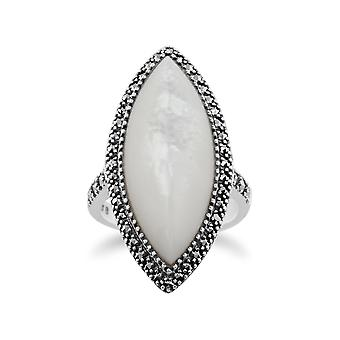 Gemondo 925 Sterling Silver 14.5ct Mother of Pearl & Marcasite Statement Ring