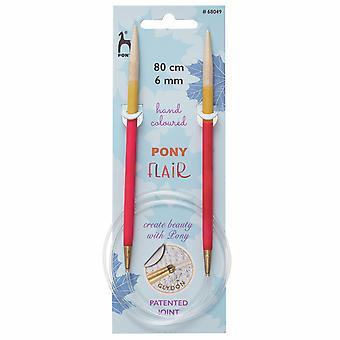 Pony Knitting Pins: Circular: Fixed: Hand Coloured: Flair: 80cm x 6.00mm