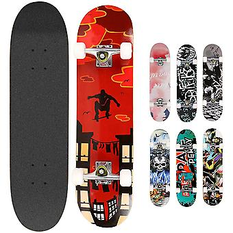 Gerui Skateboards Pro 31 inches Complete Skateboards for Teens Beginners Girls Boys Kids Adults, 7 Layer