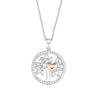Amor - Women's necklace with pendant in the shape of a tree of life, in silver 925 plated rose gold, with white zircons