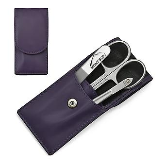 Hans Kniebes' Sonnenschein 3-piece Manicure Set in Nappa Leather Case, Made in Germany - Purple