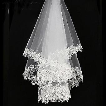 One Layered Embroidered Lace Bridal Veils