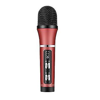 Micrófono musical micrófono de canto portátil karaoke altavoz de mano para la fiesta en casa en interiores ktv (Rojo)