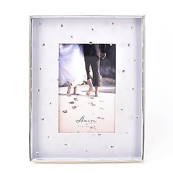 "Amore Versilbertes Grau & Kristalle Rahmen - 4"" x 6"""