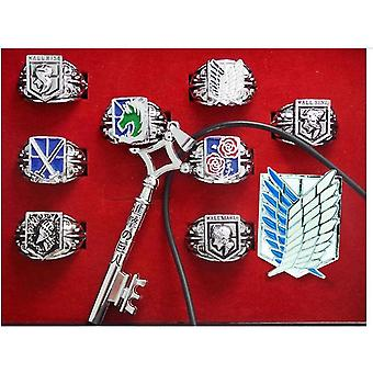 10pcs Ring Set 8 Attack On Titan Anime Rings 1 Alloy Key 1 Brooch Gift For Kids