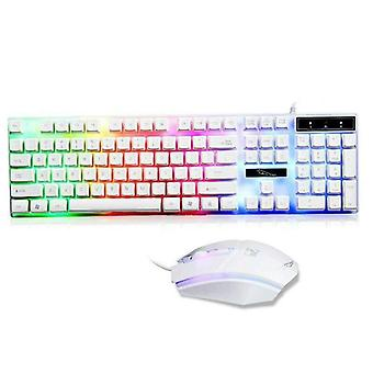 (White) Gaming Keyboard and Mouse Set Rainbow LED Wired USB For PC Tabletop Laptop