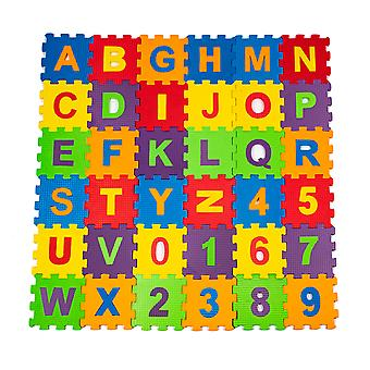 Matrax Eva Puzzle Play Mat, Letters and Numbers, 12 x 12 cm x 7 mm, 36 Pieces, BPA Free, Safe and Educational