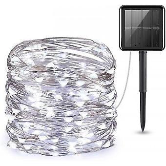 Mini 33feet 100 Led Copper Wire Lights, Waterproof Solar Decoration Lights(White)