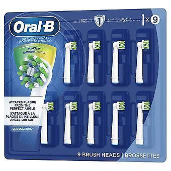 Oral-B CrossAction Elektriske tannbørsteutskiftingshoder med Max Clean, 9-pakning