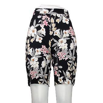 Isaac Mizrahi Live! Kvinders Petite Shorts Floral Bermuda Sort A306840