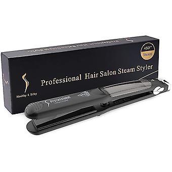 Lisseur de cheveux à vapeur professionnel - 6 températures de salon - Plaque en céramique de tourmaline 2 en 1