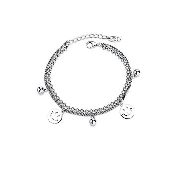 H49 S925 Sterling Silver Ladies Retro Smiley Face Bracelet Simple And Versatile Fashion Jewelry