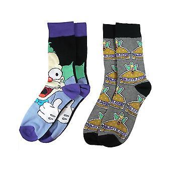 Simpsons Mens Krusty The Clown Socks (Pack of 2)