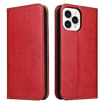 Para iPhone 13 Pro Case Leather Flip Wallet Folio Cover with Stand Red
