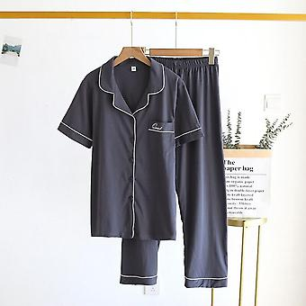 2021 Spring And Summer Couple Pajamas Two Piece Short Sleeves Nine Poi