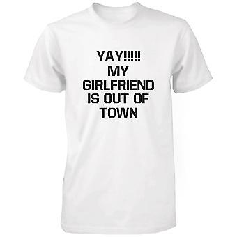 Yay mijn vriendin is Out of Town grappige Tshirt humoristische Graphic Tee grappige hemd voor mannen