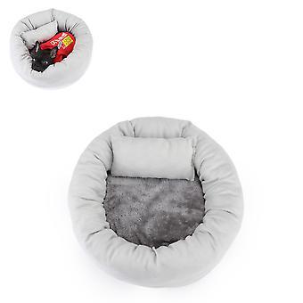 Winter warme slaapmat voor katten en honden, rond ei taart huisdier nest (grijs S)