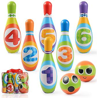 Mini bowling giocattolo per bambini, Giochi all'aperto, Giochi per genitori-bambini, Puzzle per il tempo libero (8 pezzi)