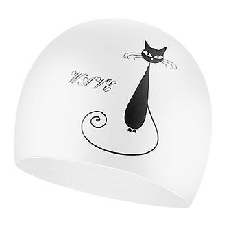 Black Cat Wave Swimming Cap