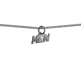 Silver 6x8mm 'Men' Pendant with a curb Chain 24 inches