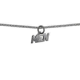 Silver 6x8mm 'Män' hänge med en Trottoarkant kedja 24 inches