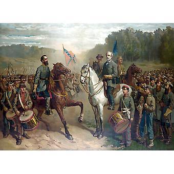 Vintage sisällissodan värimaalaus kenraali Robert E Leen ja kenraali Thomas Stonewall Jackson Ratsastus siellä viimeisessä kokouksessa Juliste Tulosta (8 x 10)