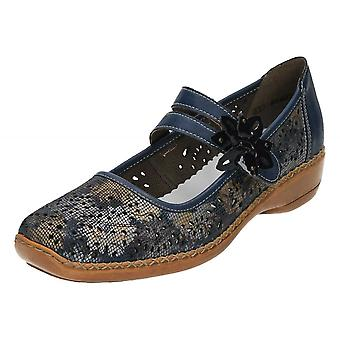 Rieker Casual in pelle Mary Jane piatto scarpe 41372-90