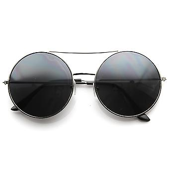 Large Round Metal Circle Frame Sunglasses w/ Cross Bar