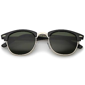 Classic Horn Rimmed Neutral Colored Lens Semi-Rimless Sunglasses 49mm
