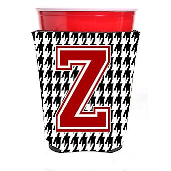Monogram - Houndstooth  Initial  Z Red Solo Cup Beverage Insulator Hugger