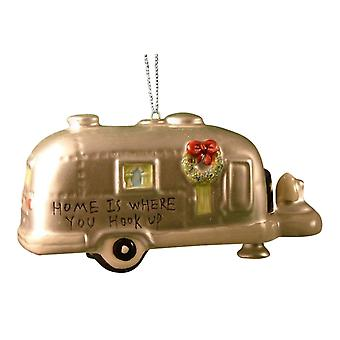 Cape Shore Silver RV Camper Trailer Christmas Ornament Home is Where You Hook Up