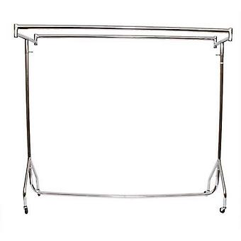 3ft Heavy Duty Chrome Steel Clothes Rail Double Top Bars 92x155x50cm b