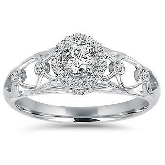 1 / 2CT Vintage Halo tour Diamond Engagement Ring 14K White Gold