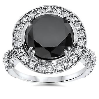 6ct behandelt Black Diamond Halo WeinleseVerlobungsring 14K White Gold
