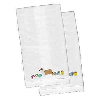 Australian Shepherd Easter White Embroidered Plush Hand Towel Set of 2