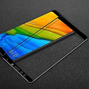 3D premium 0,3 mm böjd H9 hårt glas svart folie för Xiaomi Redmi 5 plus skydd