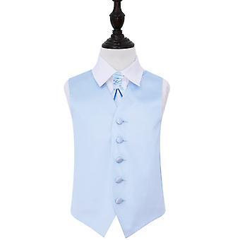 Baby blauw platte satijnen bruiloft gilet & Cravat Set voor jongens