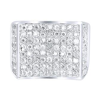 Sterling 925 Silver pave ring - CURVED
