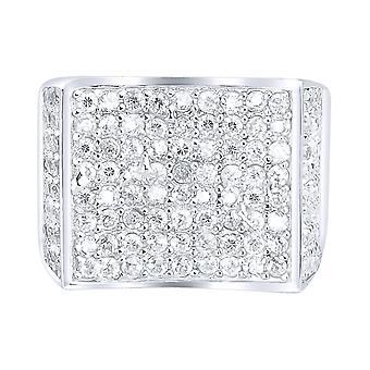 Sterling 925 Silver Pave Ring-ívelt