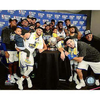 The Golden State Warriors celebrate with the 2018 Western Conference Championship Trophy Photo Print