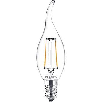 Philips Lighting LED (monocromático) EEC A++ (A++ - E) E14 Candle angular 2 W = 25 W Branco quente (Ø x L) 35 mm x 123 mm Filament 1 pc(s)