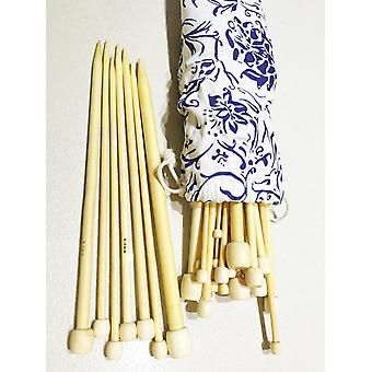16 Pairs/32pcs 2mm-12mm Pointed Bamboo Knitting Needles Set 25cm/10 with Case