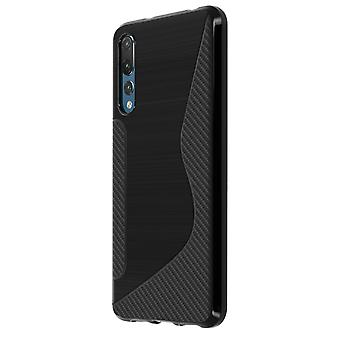 S-Line design soft silicone case for Huawei P20 Pro - Black