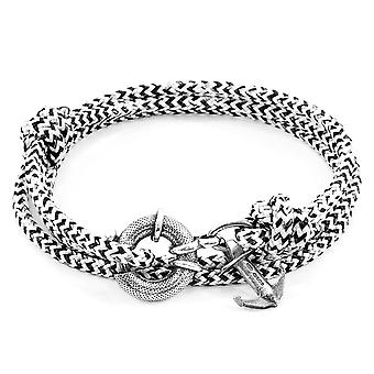 White Noir Clyde Anchor Silver And Rope Bracelet